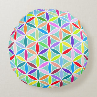 Flower of Life Pattern – Multicoloured Round Pillow