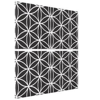 Flower of Life Pattern – White on Black Canvas Print