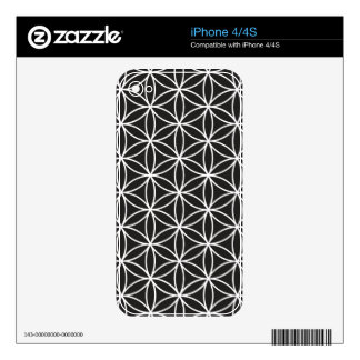 Flower of Life Pattern – White on Black iPhone 4S Decals