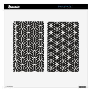 Flower of Life Pattern – White on Black Kindle Fire Skin