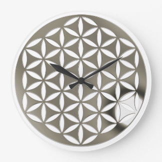 FLOWER OF LIFE - punch - silver / Blume des Lebens Wall Clock