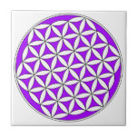 """Flower of Life Purple Ceramic Tile<br><div class=""""desc"""">By meditating upon this Flower of Life symbol on the body it has been known to have powerful healing benefits, helps to dissolve fears, assists in connecting to the higher self, stronger self awareness and reveals the innate harmony in the template of all life. There are many spiritual beliefs associated...</div>"""
