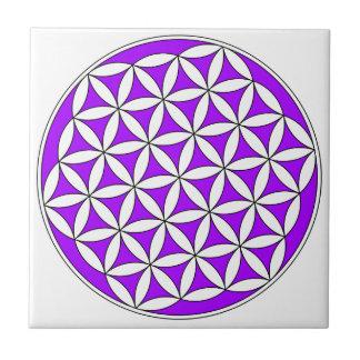 Flower of Life Purple Ceramic Tile