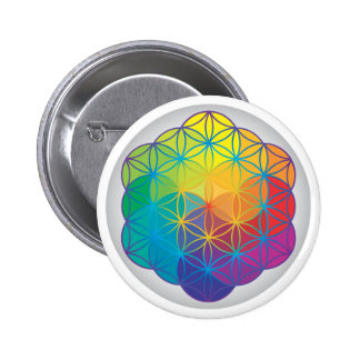 Flower of Life Rainbow Colors Harmony Energy Button