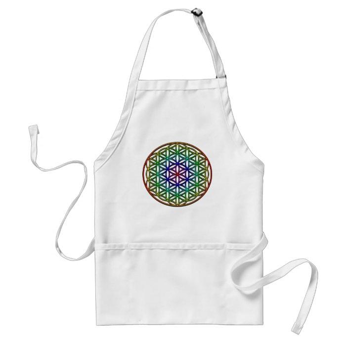 Flower of Life (rainbow) sacred geometry symbol Adult Apron