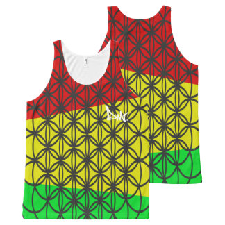 FLOWER OF LIFE RASTA COLOURED VEST TANK TOP BY DMT All-Over PRINT TANK TOP