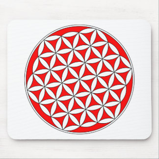 Flower of Life Red Mouse Pad