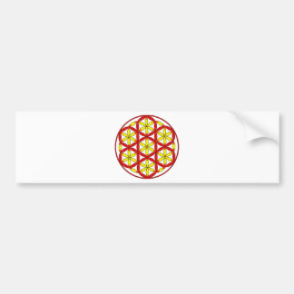 Flower of Life Red Yellow Bumper Sticker