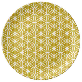Flower of Life Repeat Pattern – Golds & White Porcelain Plate