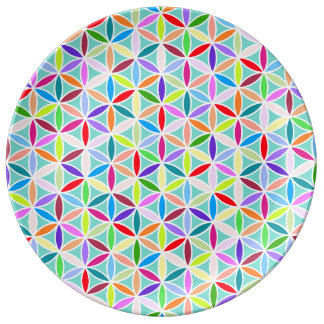 Flower of Life Repeat Pattern – Multicoloured Porcelain Plate