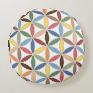 Flower of Life Retro Color Big Pattern Round Pillow