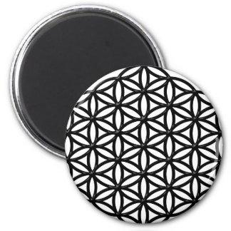 Flower of Life Sacred Geometry Symbol (black) 2 Inch Round Magnet
