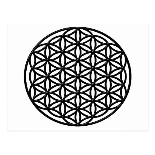 Flower of Life Sacred Geometry Symbol (black) Postcard
