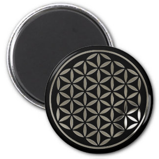 Flower Of Life - Silver 1 stamp | black Imán Redondo 5 Cm