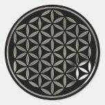 Flower Of Life - Silver 1 stamp | black Pegatina Redonda