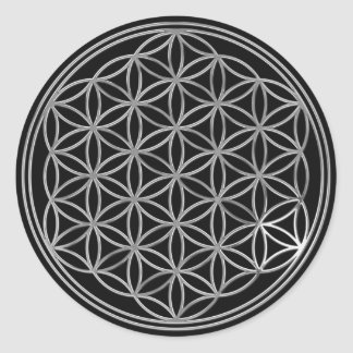 Flower Of Life / silver   black Classic Round Sticker