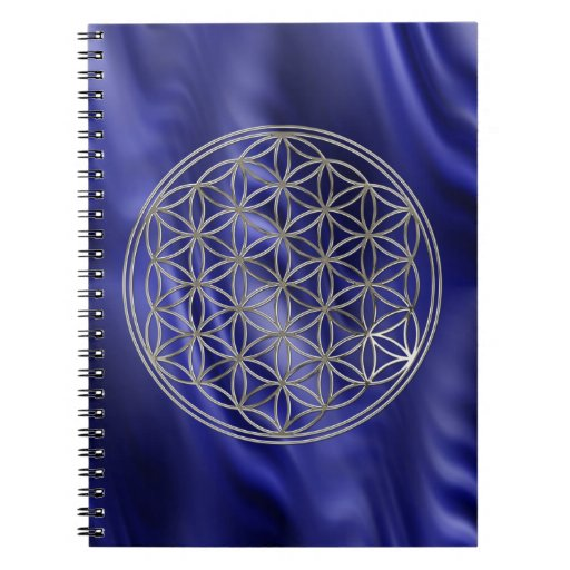 FLOWER OF LIFE - silver + blue waves Notebook