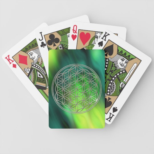 FLOWER OF LIFE - silver / Blume des Lebens Bicycle Playing Cards