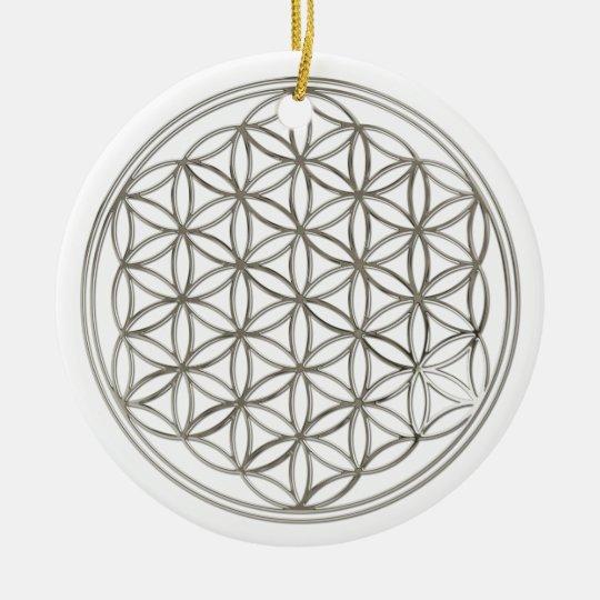FLOWER OF LIFE - silver Ceramic Ornament