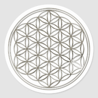 FLOWER OF LIFE - silver Classic Round Sticker