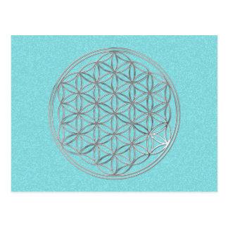 Flower Of Life   silver, cyan splatter Postcard