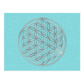 Flower Of Life   silver, cyan splatter Postcards