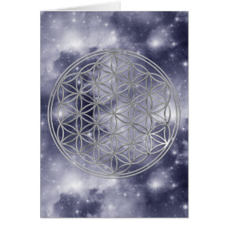 Flower Of Life | silver, dark blue universe Card