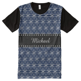 Flower of Life - silver pattern + your backgr. All-Over Print T-shirt