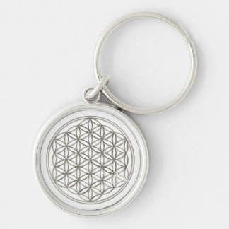 FLOWER OF LIFE - silver Silver-Colored Round Keychain