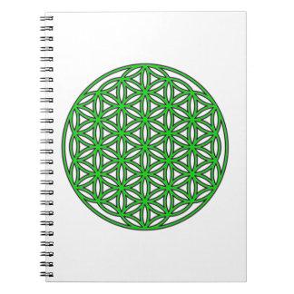Flower of Life Single Green Notebook