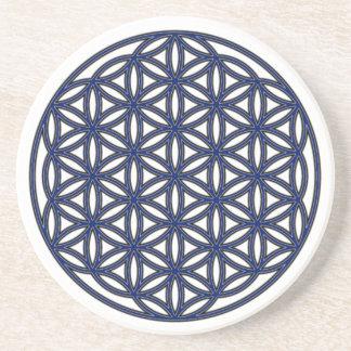 Flower of Life Single Indigo Coaster
