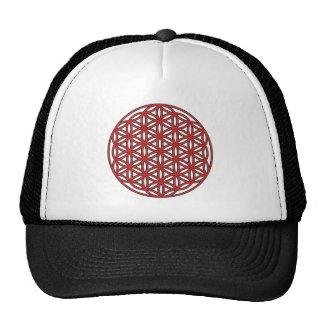 Flower of Life Single Red Trucker Hat