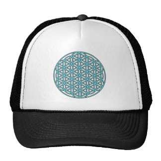 Flower of Life Single Turquoise Trucker Hat
