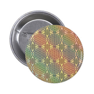 Flower of Life - stamp grunge pattern 1 Buttons
