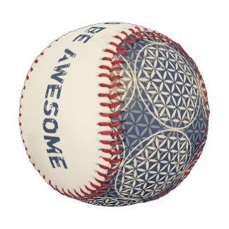Flower of Life - stamp pattern - blue sand Baseball