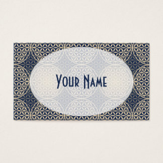 Flower of Life - stamp pattern - blue sand Business Card