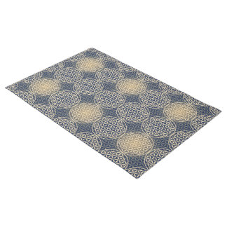 Flower of Life - stamp pattern - blue sand Doormat