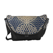Flower of Life - stamp pattern - blue sand Messenger Bag