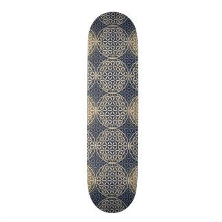 Flower of Life - stamp pattern - blue sand Skateboard