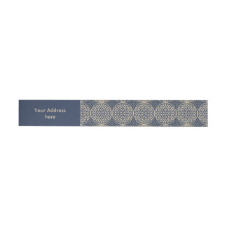 Flower of Life - stamp pattern - blue sand Wrap Around Address Label