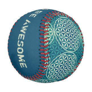 Flower of Life - stamp pattern - cyan blue Baseball