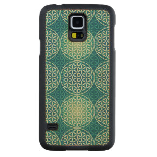 Flower of Life - stamp pattern - cyan blue Carved® Maple Galaxy S5 Case
