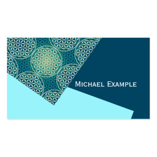 Flower of Life - stamp pattern - cyan blue Double-Sided Standard Business Cards (Pack Of 100)