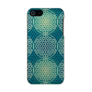 Flower of Life - stamp pattern - cyan blue Metallic Phone Case For iPhone SE/5/5s