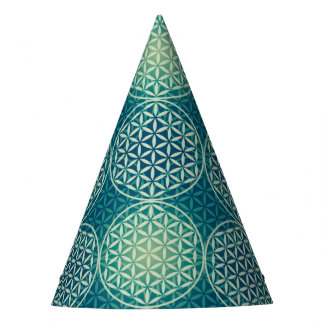Flower of Life - stamp pattern - cyan blue Party Hat