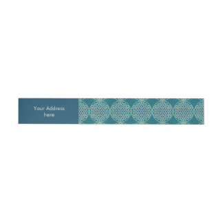 Flower of Life - stamp pattern - cyan blue Wrap Around Address Label