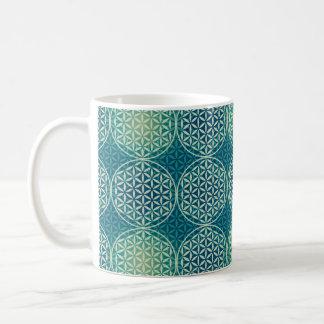 Flower of Life - stamp pattern - cyan Classic White Coffee Mug