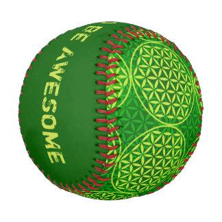 Flower of Life - stamp pattern - green Baseball