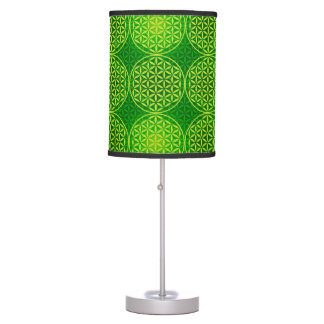 Flower of Life - stamp pattern - green Table Lamps
