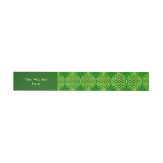 Flower of Life - stamp pattern - green Wrap Around Address Label